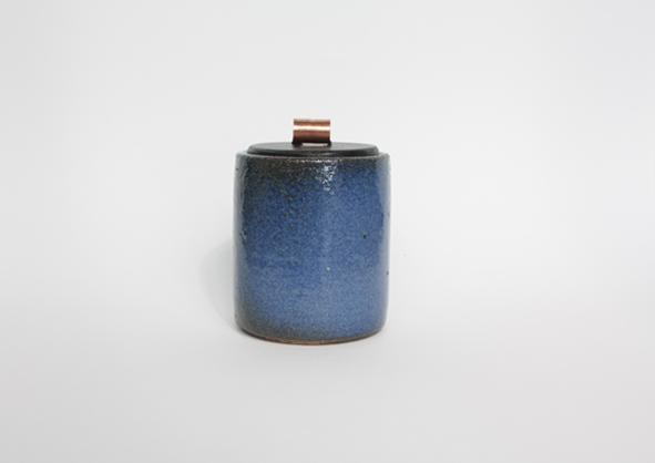 Boîte céramique bois cuivre cuir